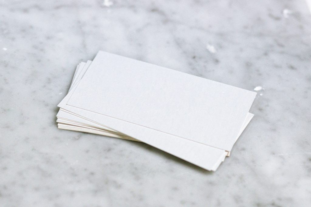 Blank cards on a countertop, symbolizing adjustment disorders and identity issues